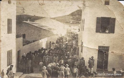 Carrer Nou. 1915. Postal. Tornant de les Carreres del Cós. Col·l. A. Camps Fullana.
